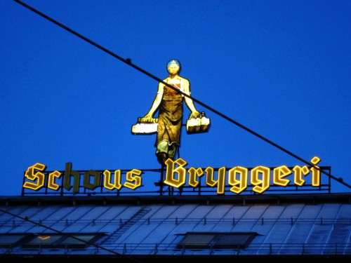 Schous Bryggeri light sign